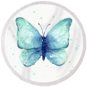 Blue Butterfly Watercolor Round Beach Towel