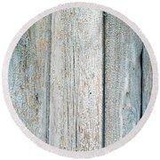 Blue Fading Paint On Wood Round Beach Towel by John Williams