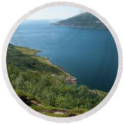 Blue Fjord Round Beach Towel