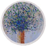 Blue Floral Round Beach Towel