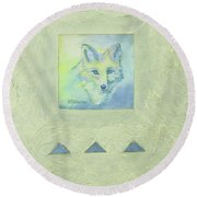 Blue Fox Round Beach Towel