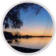 Blue Gold Sunset Round Beach Towel