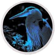 Blue Heron Round Beach Towel by Lori Seaman