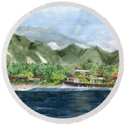 Round Beach Towel featuring the painting Blue Lagoon Bali Indonesia by Melly Terpening