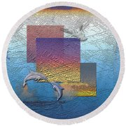 Blue Lagoon Sunrise  Round Beach Towel