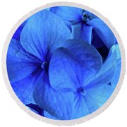Blue Round Beach Towel by Nancy Patterson