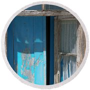 Blue Window Round Beach Towel by Edgar Laureano