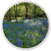 Bluebells In The New Forest Round Beach Towel