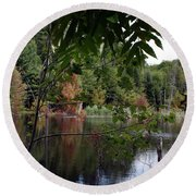 Round Beach Towel featuring the photograph Blueberry Mountain by Pat Purdy