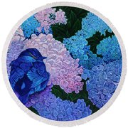 Round Beach Towel featuring the painting Bluebird by Michael Frank