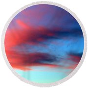 Round Beach Towel featuring the photograph Blushed Sky by Linda Hollis
