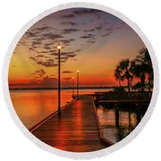 Boardwalk Sunrise Round Beach Towel