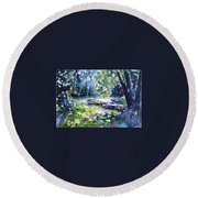 Round Beach Towel featuring the painting Boat by Kovacs Anna Brigitta