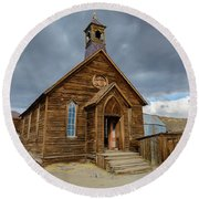 Bodie Church Round Beach Towel