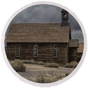 Round Beach Towel featuring the photograph Stormy Day In Bodie State Historic Park by Sandra Bronstein