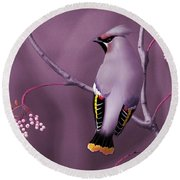 Round Beach Towel featuring the digital art Bohemian Waxwing by John Wills
