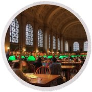 Round Beach Towel featuring the photograph Boston Public Library by Joann Vitali