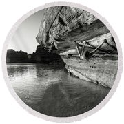 Bouldering Above River Round Beach Towel