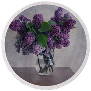 Round Beach Towel featuring the photograph Bouquet Of Fresh Lilacs by Jaroslaw Blaminsky