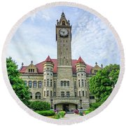 Round Beach Towel featuring the photograph Bowling Green Court House by Mary Timman