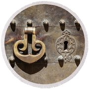 Brass Door Knocker Round Beach Towel