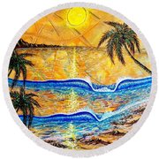 Breathe In The Moment  Round Beach Towel