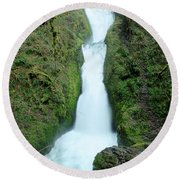 Round Beach Towel featuring the photograph Bridal Veil Falls by Jeff Swan
