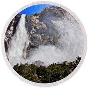 Bridalveil Fall Yosemite Valley Round Beach Towel
