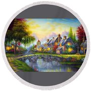 Bridge Over Troubled Waters Round Beach Towel