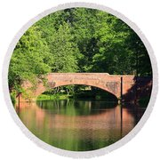 Bridge Reflection In The Spring Round Beach Towel