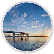 Bridge Sunrise Round Beach Towel