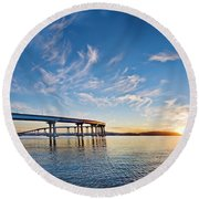 Bridge Sunrise Round Beach Towel