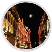 Bright Moon In Paris Round Beach Towel