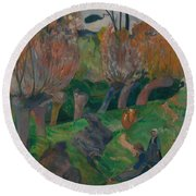 Brittany Landscape With Cows Round Beach Towel
