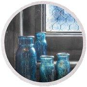 Bromo Seltzer Vintage Glass Bottles Round Beach Towel