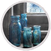 Bromo Seltzer Vintage Glass Bottles Round Beach Towel