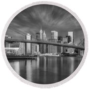 Brooklyn Bridge From Dumbo Round Beach Towel