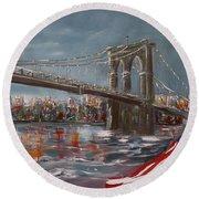 Brooklyn Bridge Round Beach Towel