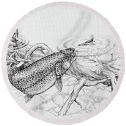 Brown Trout Pencil Study Round Beach Towel