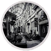 Monochrome Bucharest  Macca - Vilacrosse Passage Round Beach Towel