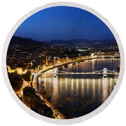 Budapest. View From Gellert Hill Round Beach Towel