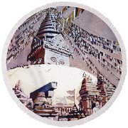 Round Beach Towel featuring the painting Buddhist Stupa- Nepal by Ryan Fox