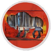 Wooden Buffalo 1 Round Beach Towel by Larry Campbell