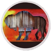 Round Beach Towel featuring the photograph Wooden Buffalo 2 by Larry Campbell