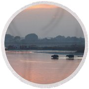 Round Beach Towel featuring the photograph Buffalos Crossing The Yamuna River by Jean luc Comperat