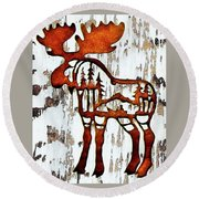 Round Beach Towel featuring the photograph Bull Moose by Larry Campbell