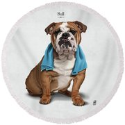 Bull Round Beach Towel by Rob Snow