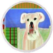 Bulldog Rana Art 66 Round Beach Towel