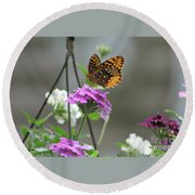 Butterflies Are Free Round Beach Towel by Barbara S Nickerson