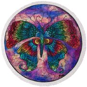 Butterfly Mandala Round Beach Towel